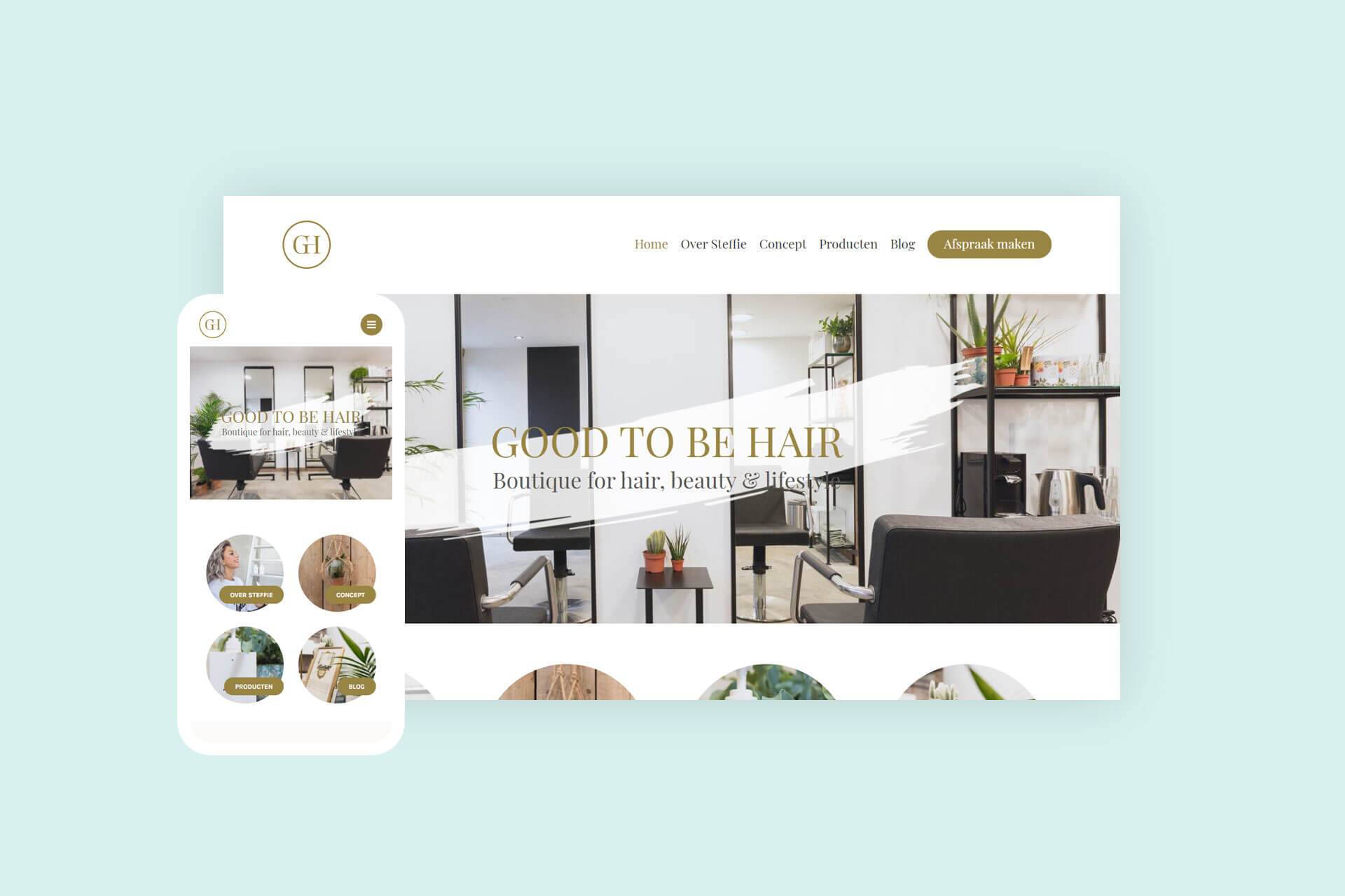 Website van boetiek voor hair, beauty en lifestyle